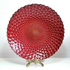 More details for large psychadelic red glass centerpiece / fruit bowl, 13