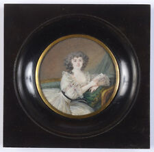 """Nicolas Dubois """"Young Spanish lady with letter"""", fine miniature, 1789"""