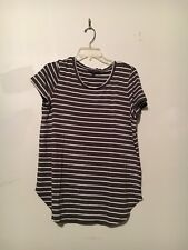 OLIVIA SKY SEDGE GREEN CREAM STRIPE TOP BLOUSE SIZE L