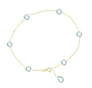 14K Yellow Gold Anklet With Blue Topaz Pear Shaped Drop 9 Inches