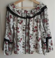 Club Monaco Womens Ivory Floral Off The Shoulder Gilara Blouse Top Shirt Size 6