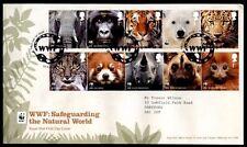 WWF Affen,Elefant,Tiger,Eisbär,Panda,Luchs u.a.Tiere.FDC-Brief+Beschreib.GB 2011