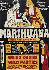 "Ad48 Vintage 1930's marihuana marihuana Anti Drogas Poster A3 17 ""x12"" volver a imprimir"