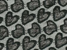 Black goth fabric lace hearts stretch mesh material 2way 67 wide x By the yard