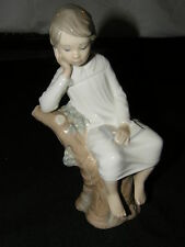 LLADRO # 4876  BOY PENSIVE THINKER ON TREE STUMP STATUE WITH BOOK