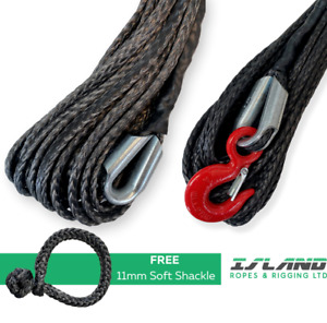 HMPE / Dyneema Synthetic Winch Line Cable Rope with Hook - 4x4 6mm to 16mm