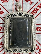 Old Thai Buddhist Nang Kwak Amulet In Custom Made Silver Case LP Poon