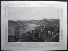 OBERWESEL. Wunderschöne Aquatinta von RÜDISÜHLI, ca. 1850