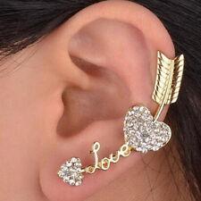 Charm Love Heart Arrow Crystal Ear Wrap Cuff Earring Clip Gold Plated Fot Girls