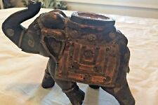 Vintage Wooden Carved Painted India Sculpture Elephant Figurine Statue