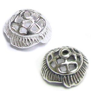 2x STERLING SILVER Round FLOWER Bead cap 9mm
