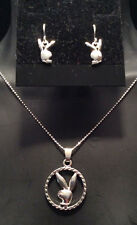 NEW Playboy Bunny Necklace with Matching Bunny Earrings, all in Silver Plate