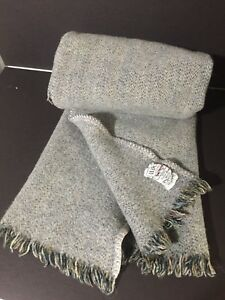 AVOCA 100% Wool THROW BLANKET Gray grey Donigal Twill Shawl 43x32 NICE