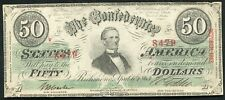 T-57 1863 $50 FIFTY DOLLARS CSA CONFEDERATE STATES OF AMERICA BANKNOTE