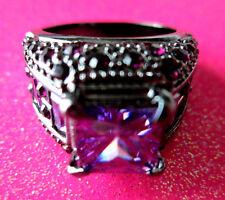 Black Platinum Rhodium Purple CZ Cocktail Crystal Ring Size 8 USA #14