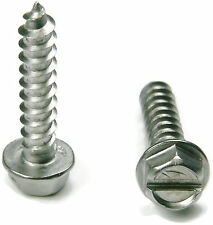 Stainless Steel Slotted Hex Indented Head Sheet Metal Screw #14 x 1, Qty 25