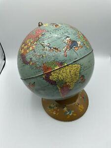 Walt Disney Metal Character World Globe Rand McNally Vintage 1950's