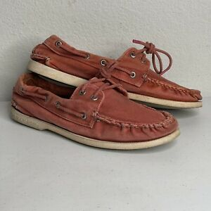 Sperry Top-Sider Men's A/O 2-Eye Washed Red Boat Shoes, Size 8.5M