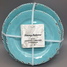 8pc Tommy Bahama Melamine Dinner Salad Plate Set Turquoise Rustic Tuscan Crackle