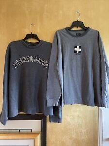 Vintage Lot Of 2 Abercrombie & Fitch Gray Long Sleeve Crewneck Sweatshirts XL