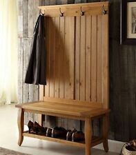 Rustic Farmhouse Hallway Coat Rack with Built-In Bench Shelves Shoes Mudroom New