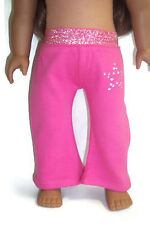 """Bright Pink Yoga Pants with Rhinestones fits 18"""" American Girl Doll Clothes"""