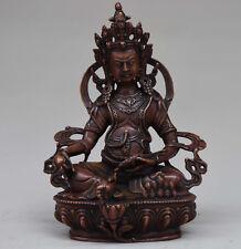 "8"" Tibet Buddhism Temple Copper Bronze Wealth God Yellow Jambhala Buddha Statue"