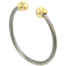 7 in. Stainless Steel Cable Golf Cuff Bracelet w/ Gold-tone Ball Ends