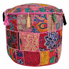 Bohemian Patchwork Pouf Cover Ottoman Ethnic Decor Indian Pouffe Foot Stool Art