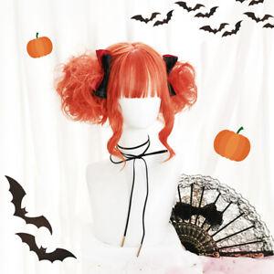 Japanese Cosplay Dirty Orange Short Curly Hair Harajuku Lolita Sweet Daily Wig