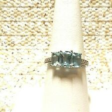 SKY BLUE TOPAZ, STAINLESS STEEL  TRILOGY   RING (SIZE 7)  tgw 2.60 CTS
