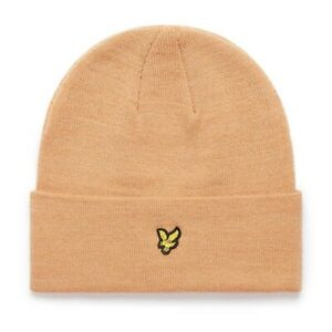 Lyle & Scott Mens Knitted Beanie Hat Tan Brown One Size
