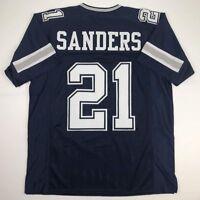 New DEION SANDERS Dallas Dark Blue Custom Stitched Football Jersey Size Men's XL