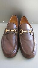 GUCCI Made in Itay Brown Leather Loafers Size 9 Gold Horsebit Shoes SALE!