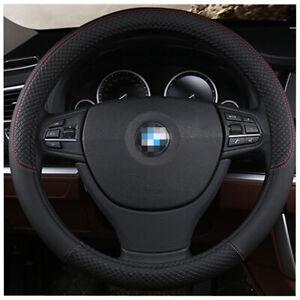 Black PU Leather Car Steering Wheel Cover Auto Interior Accessories 15inch 38cm