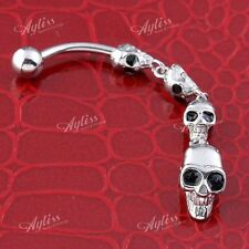 Belly Navel Ring Curved Body Piercing 14G Stainless Steel 4 Skull Chain Dangle