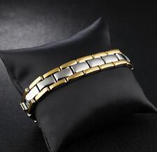 "Men Gold Stainless Steel Wedding Bracelet Health Care Magnets Chain Bangle 8.5"""
