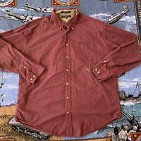 Men's XXL 2XL Red Plaid Checkered Tommy Hilfiger Button Up Dress Shirt