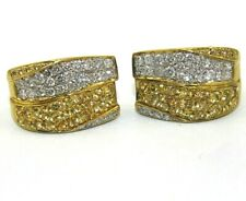 Round Yellow Sapphire & Diamond Bypass Omega Earrings 18K Yellow Gold 3.48Ct