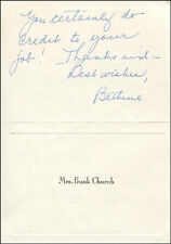 BETHINE (MRS.FRANK) CHURCH - AUTOGRAPH LETTER SIGNED 04/29/1965
