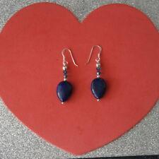 Beautiful Earrings With Lapis Lazuli & Crystal 7.3 Gr.3.5 Cm Long+Silver Hooks