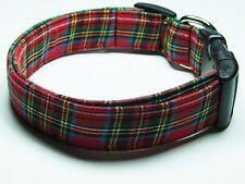 Charming Red Tartan Plaid Adjustable Standard Dog Collar