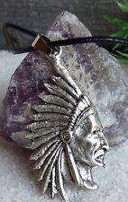 Indianer Kopf Halskette Echt Leder Kette Metall Silber Häuptling Indian Style