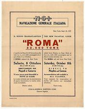 1927 NGI SS ROMA Navigazione Generale Italiana CRUISE Ship LINER Naples GENOA