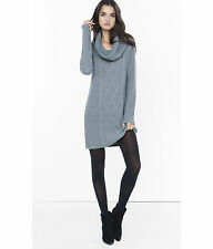 New Express $89 Gray Cowl Neck Cable Knit Sweater Dress Medium M