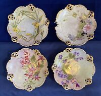 Antique BRC Moliare Germany Set Of 4, Hand Painted Reticulated Porcelain Plates