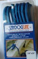 Blue Dock Line Double Braid 3/8'' x 20' Nylon Sea-Dog Premium 12'' eye Docking
