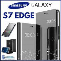 Coque Flip pour Samsung Galaxy S7 Edge Étui A Livre Transparent View 360° Noire