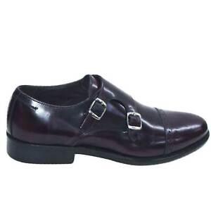 Scarpe classiche due fibbie bordeaux abrasivato fondo cuoio vera pelle genuine l