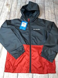 Columbia Youth Small Medium Large XL Center Ridge Windbreaker Jacket Red NEW